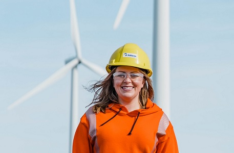 Amy Campbell at the Digby Neck Wind Farm