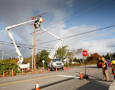 Electrical engineers rebuilding lines in Ingonish
