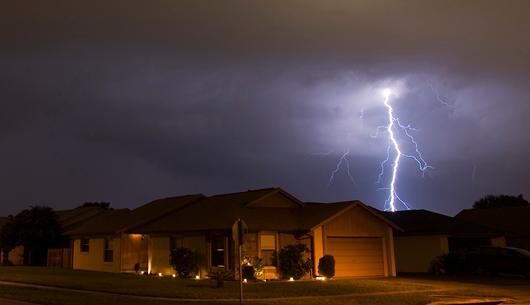 Lightning striking during a storm