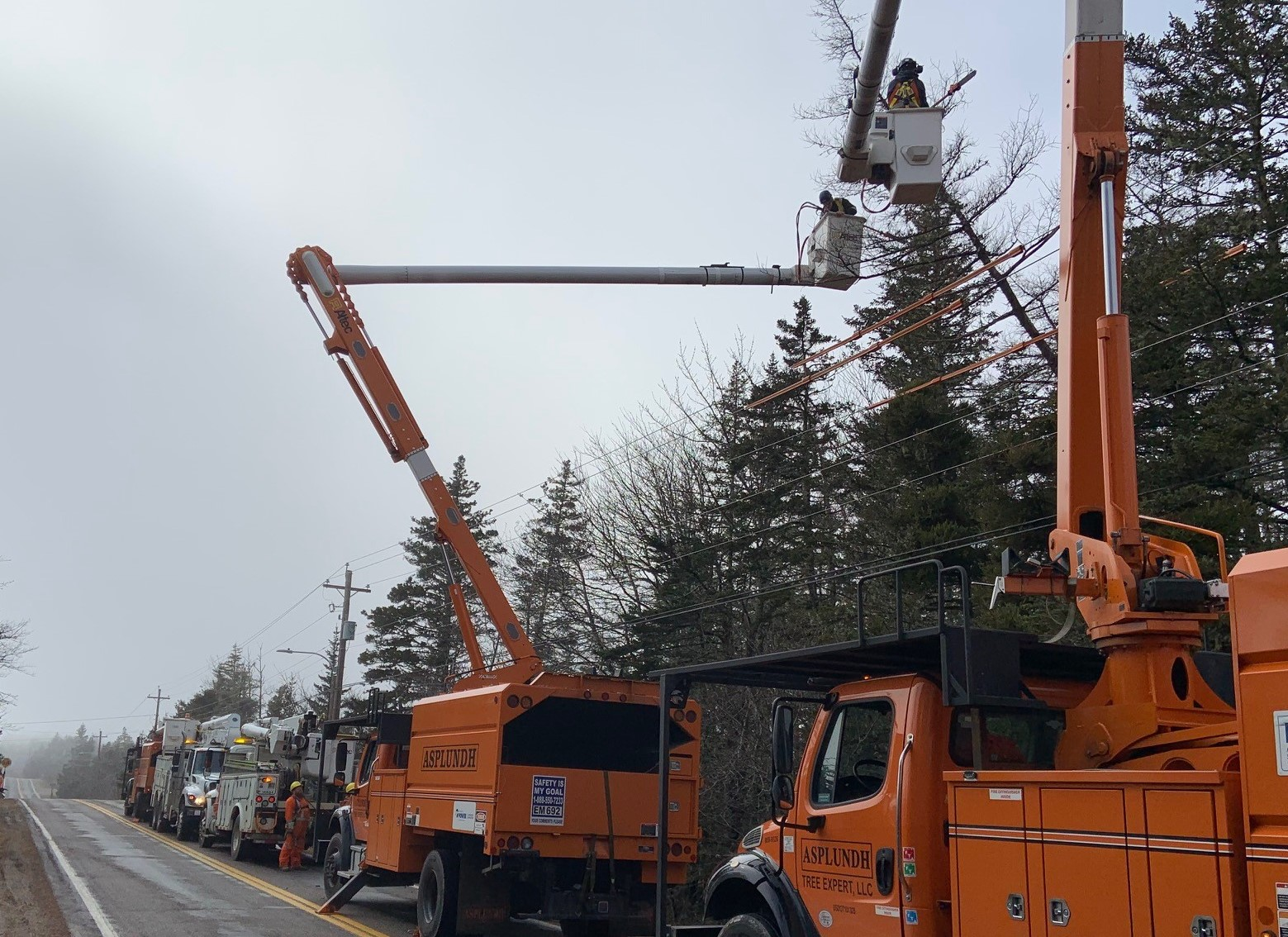 Staff members working to restore power after the storm